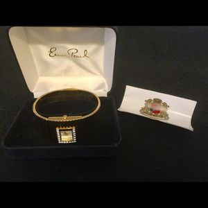 Erwin Pearl gold tone, cuff style wristwatch